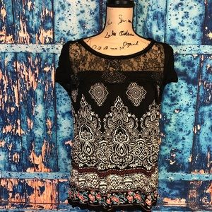 Bila sz L black sheer paisley boho top short slv